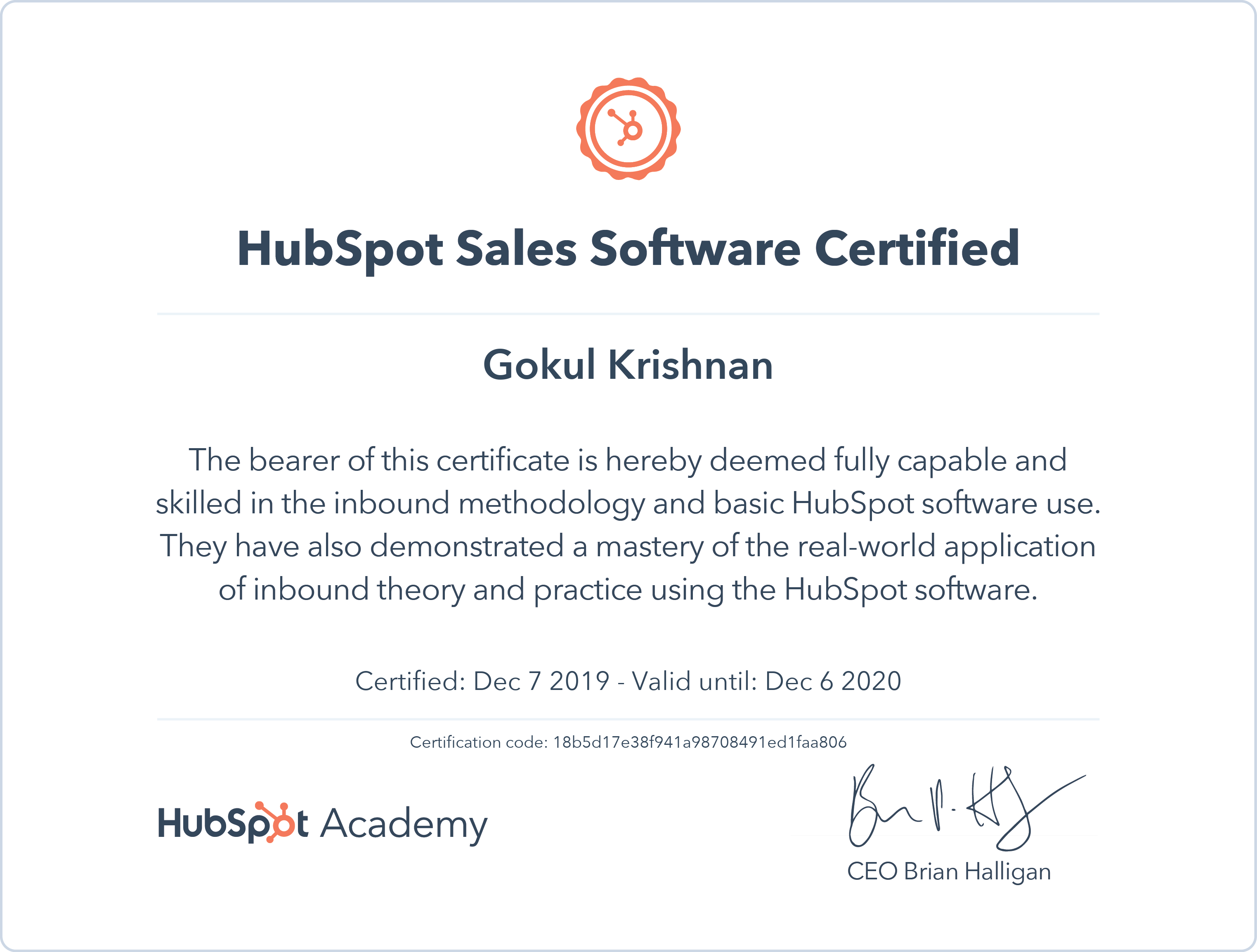 Gokul - HubSpot Sales Software Certification