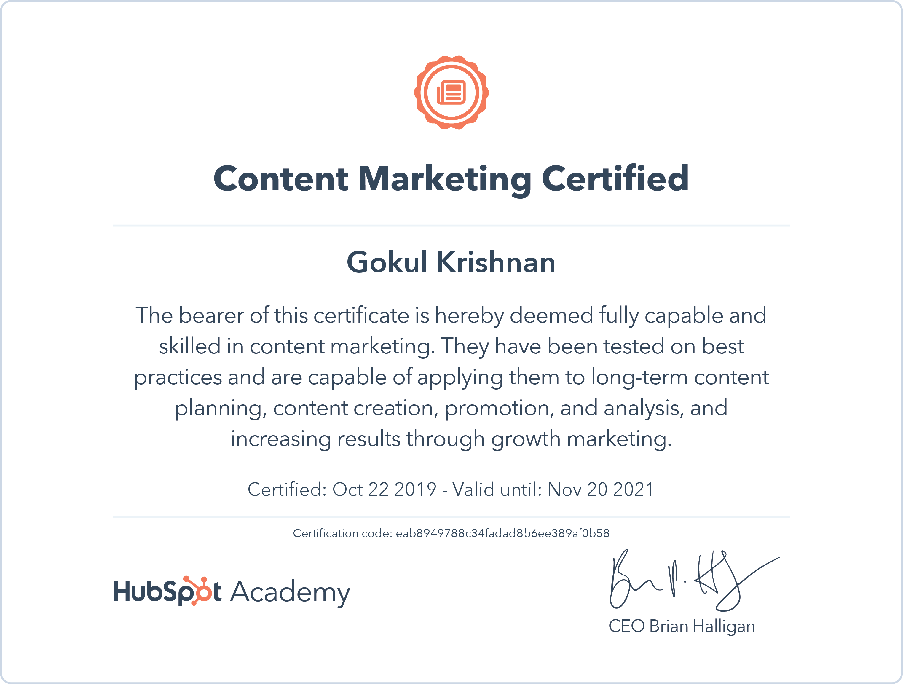 Gokul - Content Marketing Certification