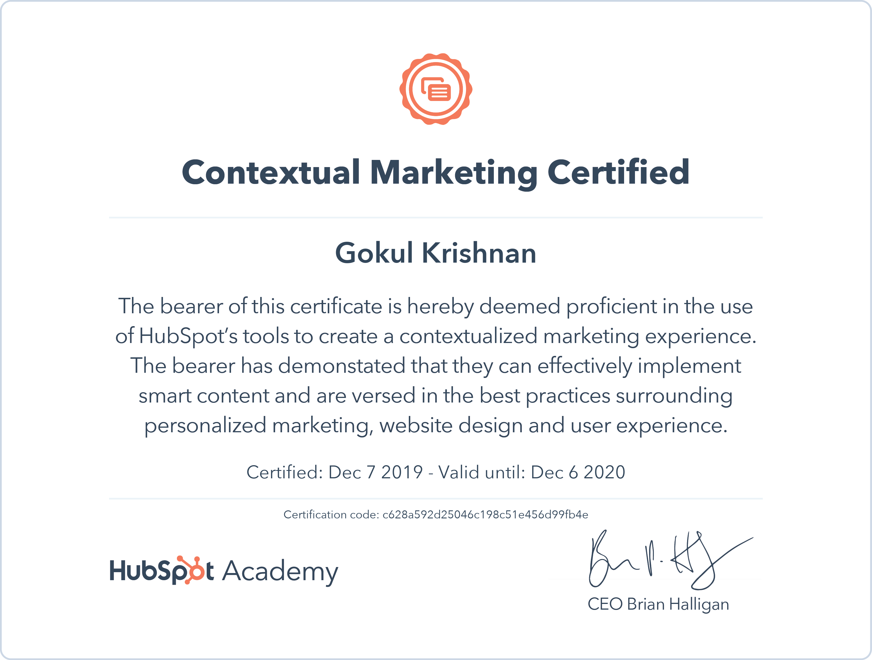 Gokul - Contextual Marketing Certification