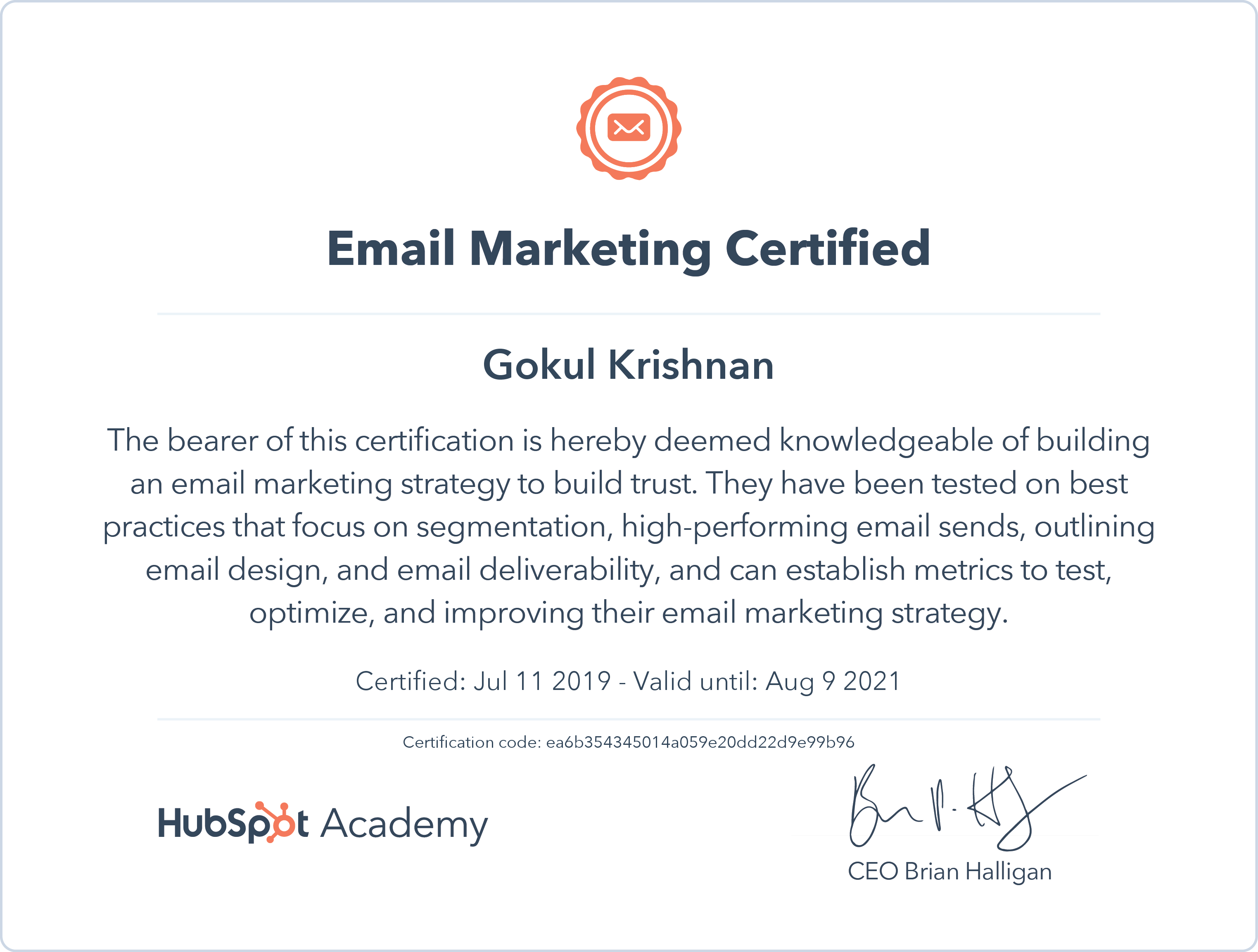 Gokul - Email Marketing Certification