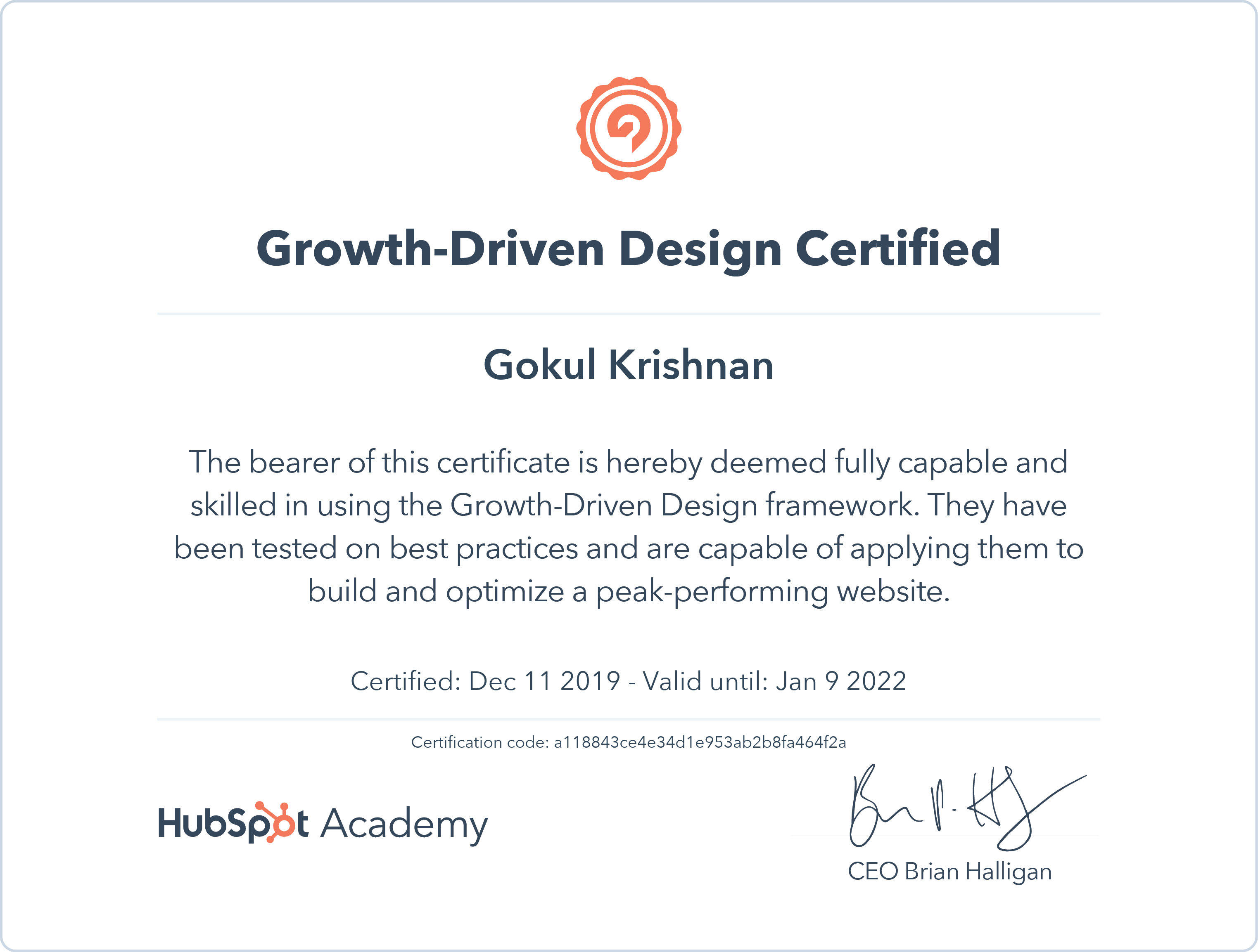 Gokul - Growth Driven Design Certification