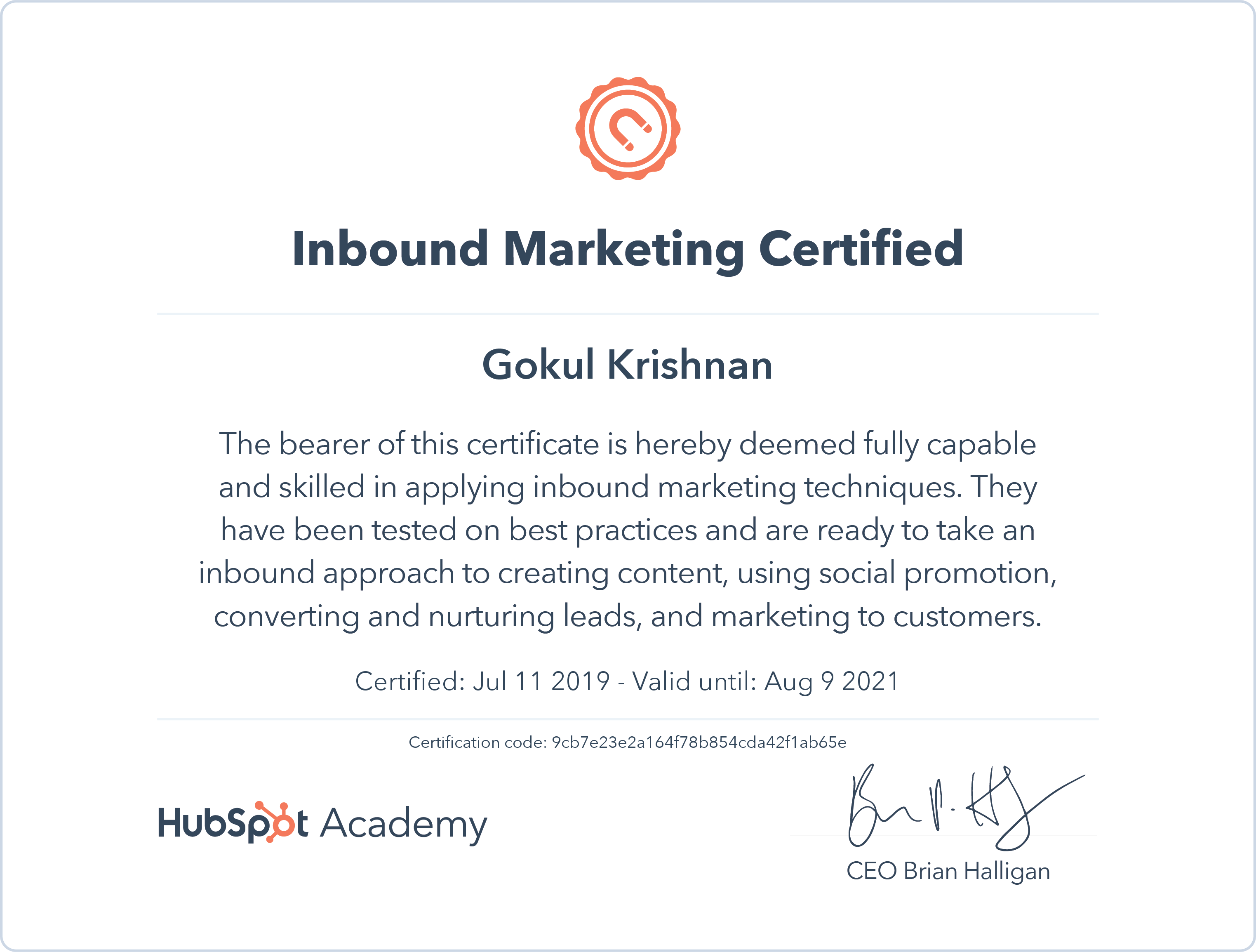 Gokul - Inbound Marketing Certification