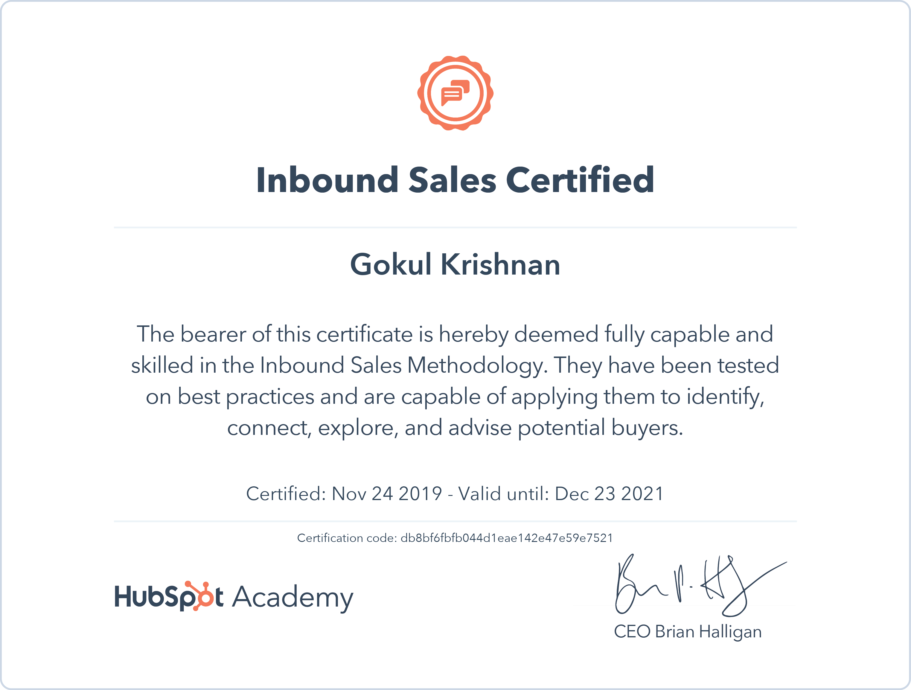 Gokul - Inbound Sales Certification