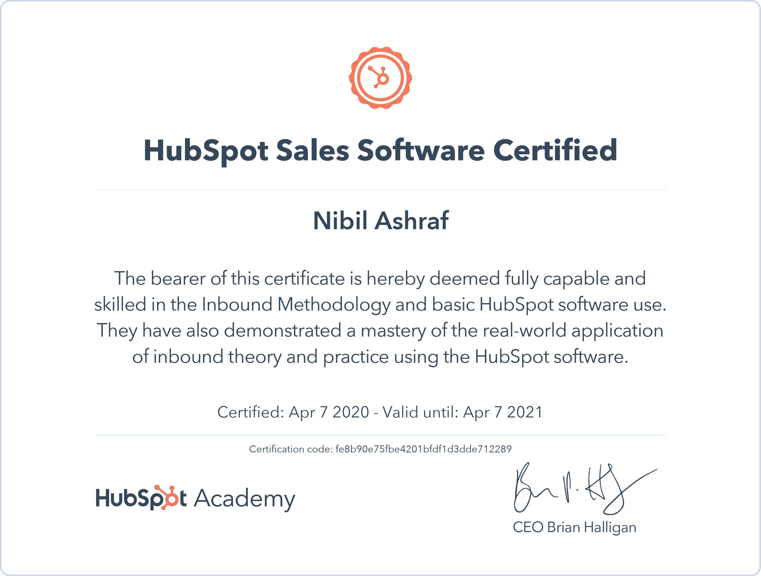 Nibil - HubSpot Sales Software Certification