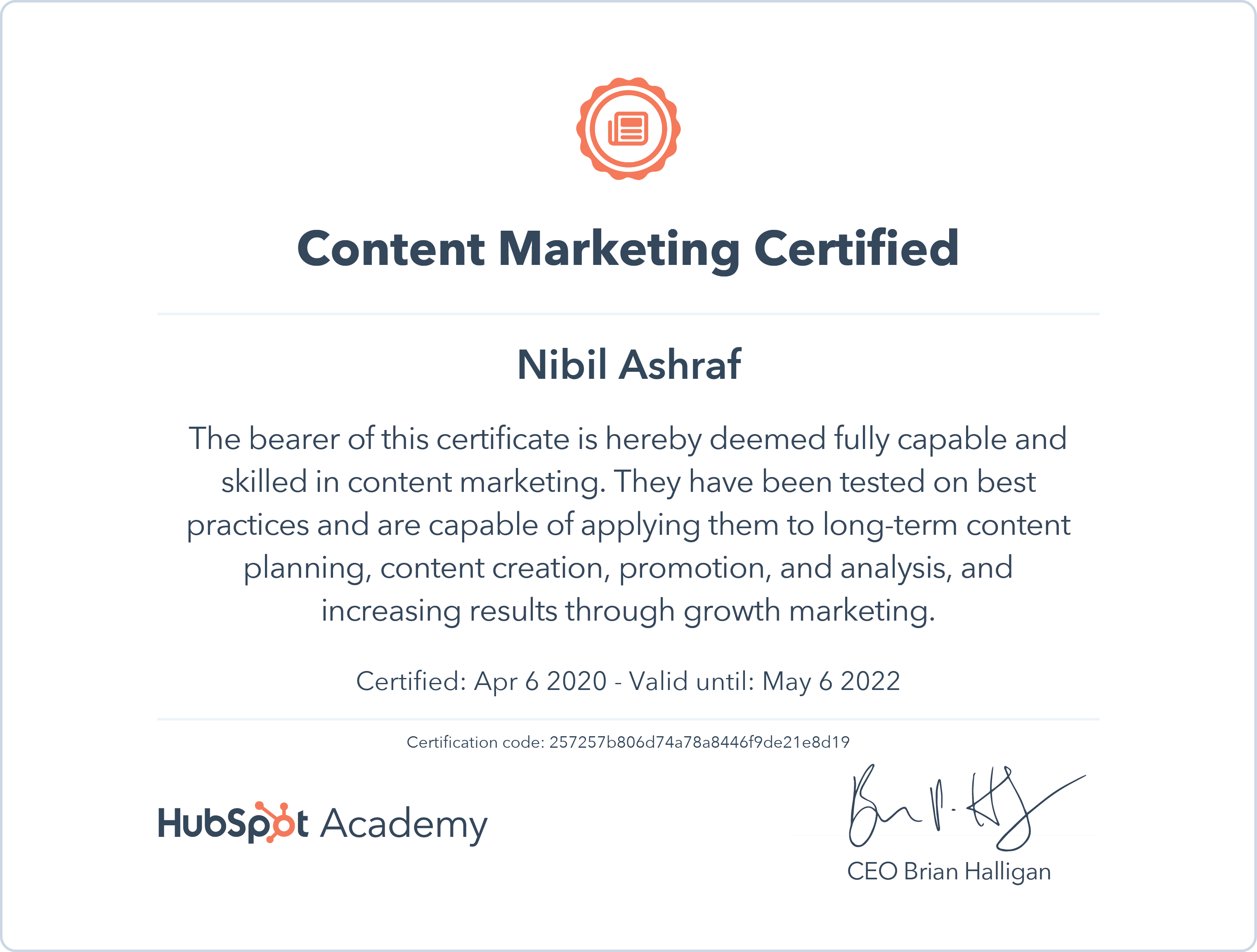 Nibil - Content Marketing Certification