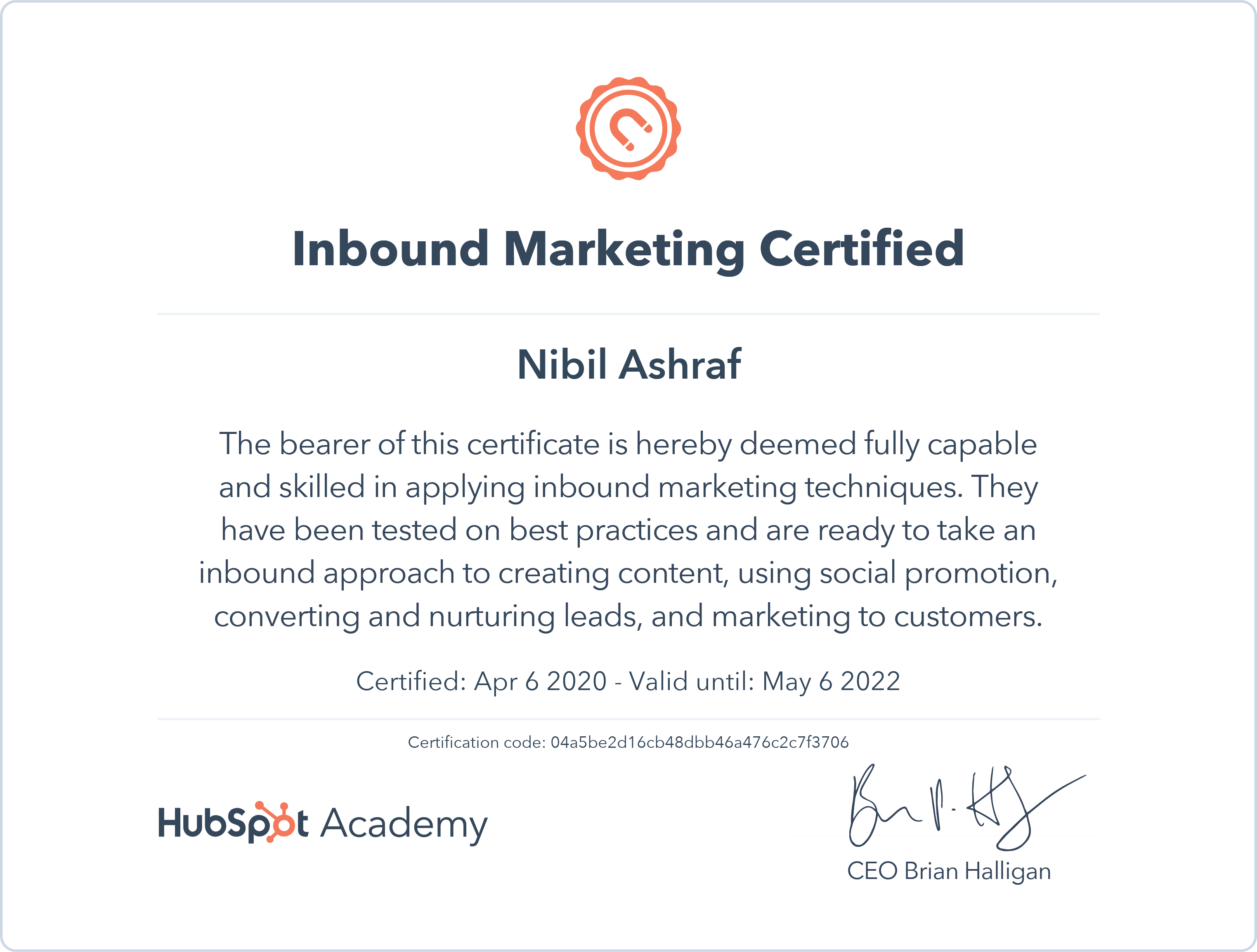 Nibil - Inbound Marketing Certification